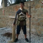 A boy equipped as a Roman Retiarius soldier